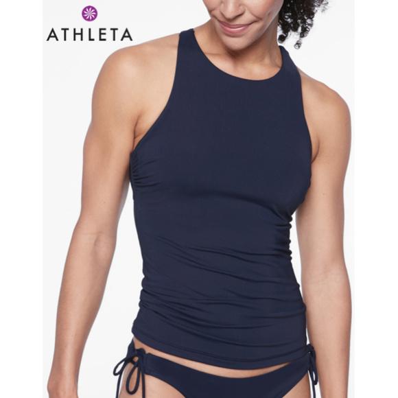 *Athleta Back Tie Tankini-Dress Blue-S-NWT